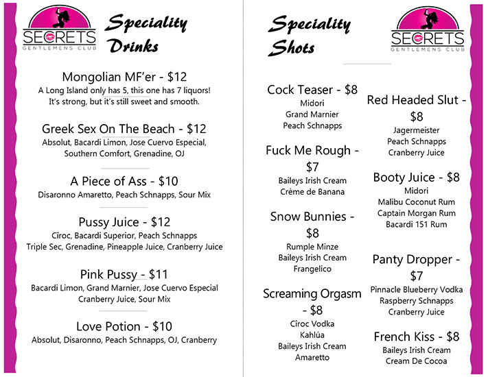 Secrets Tampa Drink Specials